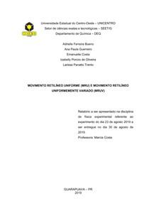 MOVIMENTO RETILÍNEO UNIFORME (MRU) E MOVIMENTO RETILÍNEO UNIFORMEMENTE VARIADO (MRUV)