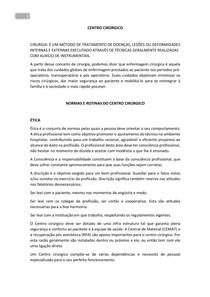 NORMAS E ROTINAS DO CENTRO CIRÚRGICO