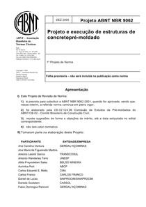 NBR 9062 - 2006  -  Projeto e Execução de Estruturas de Concreto Pré moldado