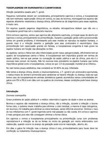 TOXOPLASMOSE EM RUMINANTES E CARNPIVOROS