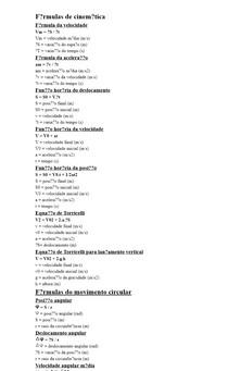 Fórmulas de cinemática