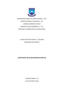 Relatório III - Coeficiente de Elasticidade de Molas
