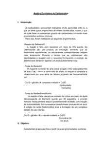 Análise Qualitativa de Carboidratos