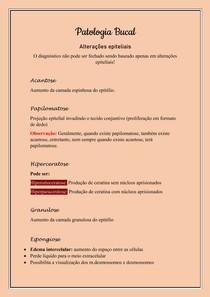 Patologia Bucal - Alterações epiteliais