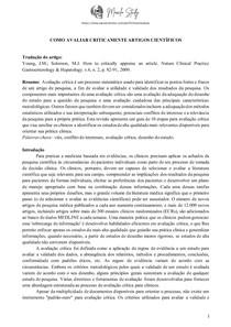 Como avaliar criticamente artigos científicos