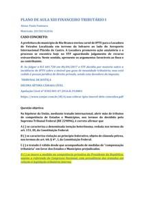 PLANO DE AULA XIII FINANCEIRO TRIBUTÁRIO I