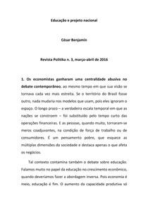 Cesar Benjamin Educação e projeto nacional
