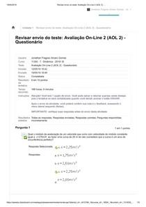 Avaliação On Line 2 (AOL 2) Questionário Dinâmica