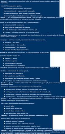 Respostas do AutoTeste - Como fazer investimentos 2 - FGV - 8h