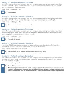 APOL Objetiva 4 ANÁLISE DE VANTAGEM COMPETITIVA