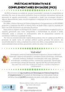 Práticas Integrativas e Complementares em Saúde (PICS) na Odontologia