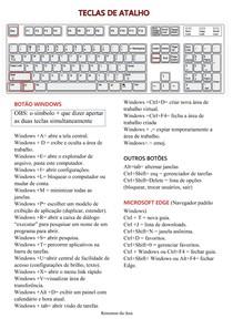 TECLAS DE ATALHO Windows e navegador- informática