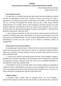 Zilma Ramos de Oliveira - Educação Infantil - Fundamentos e Métodos