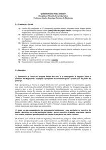 Questionário - Filosofia Jurídica