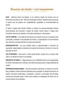 RESUMOS DE SAÚDE - LEIS IMPORTANTES