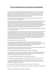 TESTE DE CONHECIMENTO AULA 09 DIREITO DO CONSUMIDOR