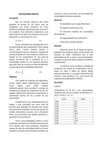 Relatório: Resistividade Elétrica