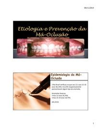 Etiologia e prevenção da má oclusão