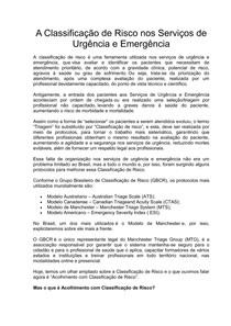 CLASSIFICAÇÃO POR CORES DEFINE GRAVIDADE DE PACIENTES