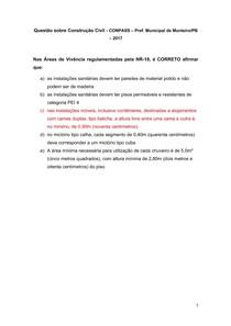 Questão sobre Construção Civil - CONPASS Pref Municipal de Monteiro-PB 2017