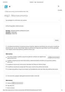 Avaliação Diagnóstica 3 - Macroeconomia UNOPAR