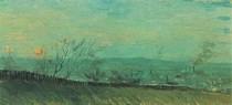 Vincent Willem van Gogh - Fábricas vistos de uma encosta em Moonlight