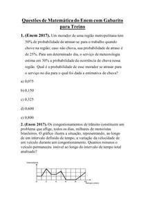 Questões de Matemática do Enem com Gabarito para Treino