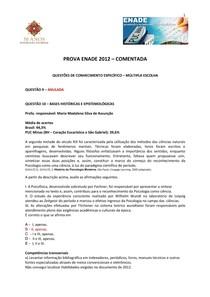 Prova comentada ENADE 2012
