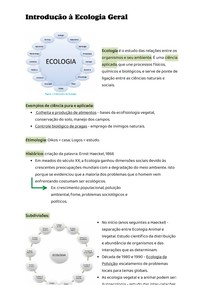 Anotação de aula - Introdução à Ecologia