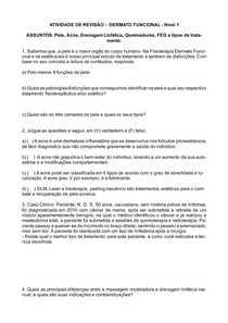 QUESTÕES BÁSICAS - DERMATO FUNCIONAL