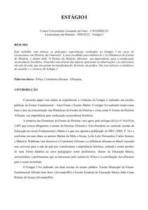 ESTÁGIO I UNIASSELVI - VIVENCIA DO ESTAGIO