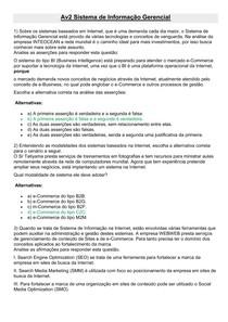 Av2 Sistema de Informação Gerencial   Adm 7 Sem