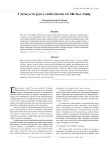 Corpo percepção e conhecimento em Merleau Ponty