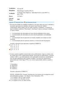 Avaliação Final Objetiva - Metodologia Científica, Produção Cultural, Uniasselvi nota 9,00
