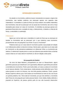 Resumo 01 - Introdução à cinemática e o movimento