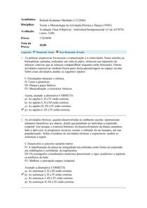 PROVA 03 GABARITO ATIVIDADE RITMICA E DANCA