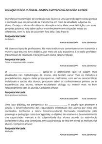 AVALIAÇÃO DO NÚCLEO COMUM – DIDÁTICA E METODOLOGIA DO ENSINO SUPERIOR