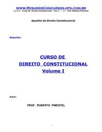 Roberto Pimentel - Curso de Direito Constitucional Vol. I