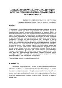 A INCLUSÃO DE CRIANÇAS AUTISTAS NA EDUCAÇÃO INFANTIL E FATORES PRIMORDIAIS PARA SEU PLENO DESENVOLVIMENTO