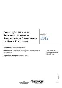 Orientações Didáticas Fundamentais sobre as Expectativas de Aprendizagem de Língua Portuguesa