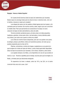 Leitura em Espanhol: Ropajes