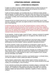 Literatura Hispano-Americana - Conteúdo Online
