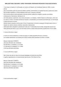 SIMULADO PARA CONCURSO CARGO PROFESSOR ENS. FUNDAMENTAL-PEDAGOGO E PROFESSOR ED. INFANTIL