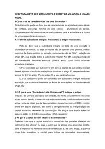 Direito Empresarial II - Exercício 01 (questões abertas)