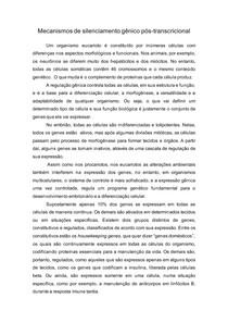 Texto- Mecanismos de regulação da expressão gênica