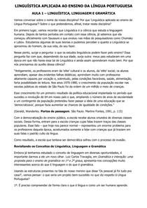 Linguística Aplicada ao Ensino da Língua Portuguesa - Conteúdo Online