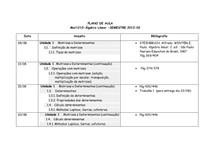 PLANO DE AULA- Mat 1210-Algebra Linear-2012-02