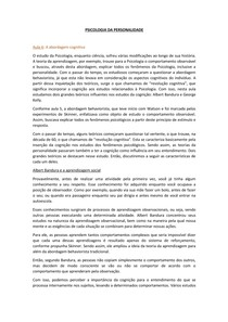PSICOLOGIA DA PERSONALIDADE - Resumo das aulas 6 a 10