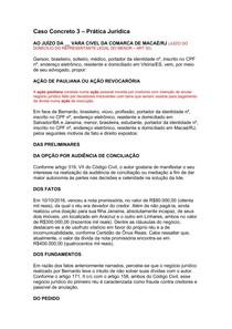 Caso Concreto 3 - AÇÃO DE PAULIANA OU AÇÃO REVOCARÓRIA