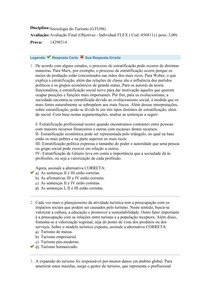 SOCIOLOGIA DO TURISMO - Avaliação Final (Objetiva) - Individual FLEX ( Cod 456811)